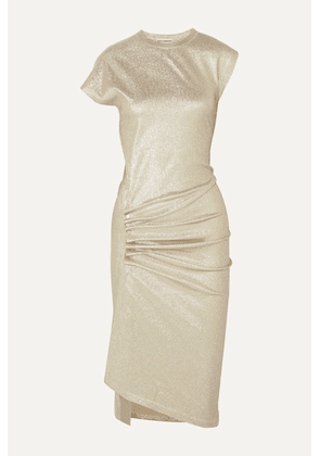 Paco Rabanne - Ruched Metallic Stretch-jersey Dress - Gold