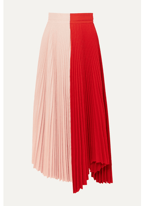 A.W.A.K.E. MODE - Double Trouble Doric Pleated Two-tone Cady Midi Skirt - Red