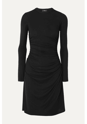 Theory - Ruched Stretch-jersey Dress - Black
