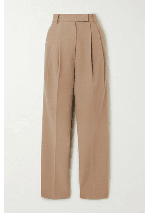 Frankie Shop - Bea Pleated Gabardine Straight-leg Pants - Sand