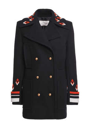Valentino Stripe-Detailed Logo-Embroidered Wool Peacoat Size: 36