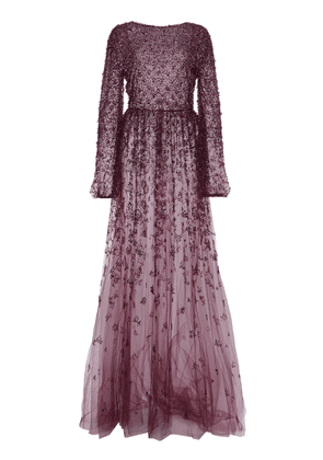 Valentino Embellished Exposed Back Tulle Gown Size: 38