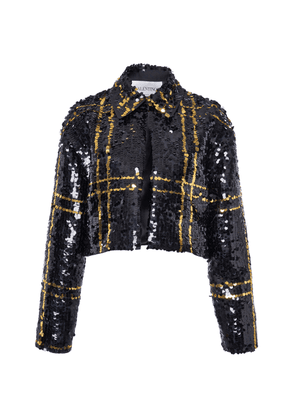 Valentino Checked Sequin Cropped Jacket Size: 38