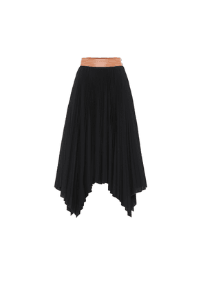Pleated cotton-blend midi skirt