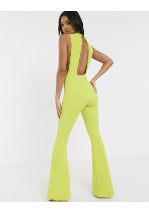 ASOS DESIGN scuba rib jersey jumpsuit with side cut outs-Green
