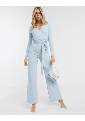 ASOS DESIGN wrap front jumpsuit in rib-Red