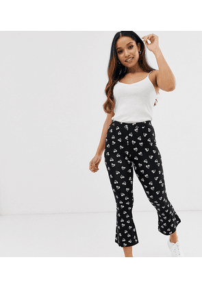 ASOS DESIGN Petite cropped flare trouser in heart print-Multi