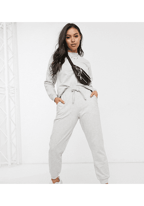 ASOS DESIGN Petite tracksuit ultimate sweat / jogger with tie-Grey