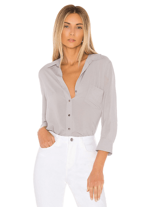 L'AGENCE Ryan 3/4 Sleeve Blouse in Gray. Size M.