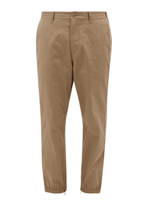 Gucci - Gg Web-stripe Cotton Chinos - Mens - Beige
