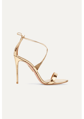Aquazzura - Linda 105 Metallic Leather Sandals - Gold