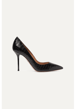 Aquazzura - Purist 95 Croc-effect Leather Pumps - Black