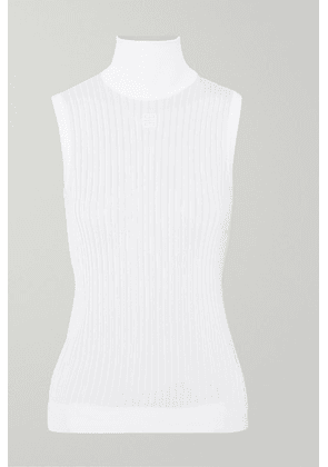 Givenchy - Embroidered Ribbed Knitted Turtleneck Top - White