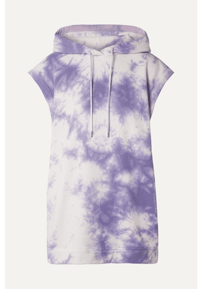 Ninety Percent - Oversized Hooded Tie-dyed Organic Cotton-terry Mini Dress - Purple