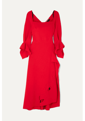 Roland Mouret - Trinity Draped Cutout Wool-crepe Midi Dress - Red