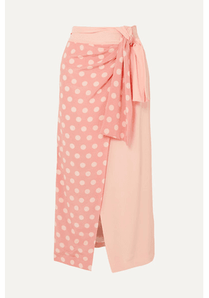 Mother of Pearl - + Net Sustain And Bbc Earth Annabelle Wrap-effect Polka-dot Organic Silk Skirt - Pastel pink