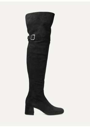 Prada - Suede Over-the-knee Boots - Black