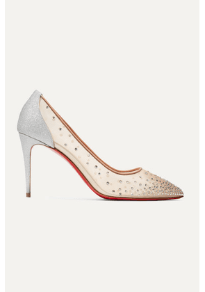 Christian Louboutin - Follies 85 Crystal-embellished Mesh And Glittered-leather Pumps - Silver