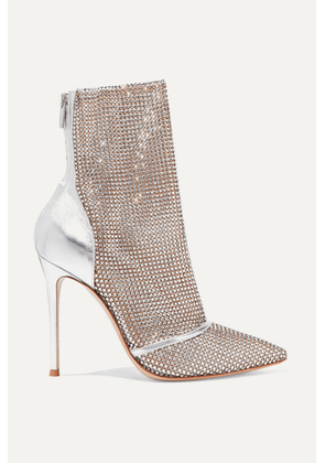 Gianvito Rossi - 105 Crystal-embellished Metallic Leather And Mesh Ankle Boots - Silver