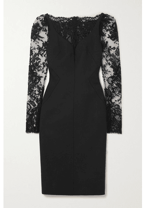 Alexander McQueen - Lace-paneled Wool-blend Cady Dress - Black