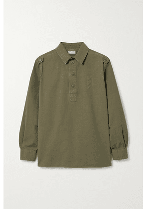 SAINT LAURENT - Distressed Cotton Top - Army green