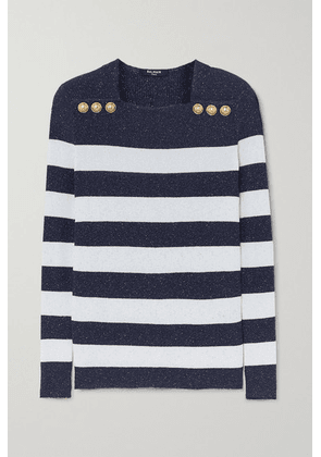Balmain - Button-embellished Metallic Striped Ribbed-knit Sweater - White