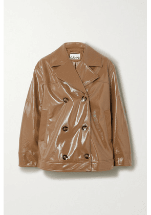 GANNI - Double-breasted Faux Patent-leather Jacket - Sand