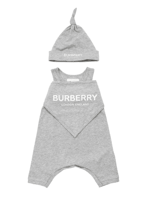 Cotton Jersey Romper, Bib & Hat