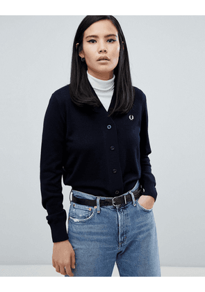 Fred Perry Crop Knit Cardigan-Navy