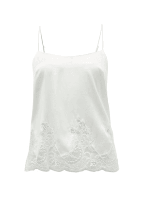 Fleur Of England - Signature Lace-trimmed Silk-blend Camisole - Womens - White