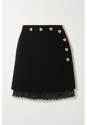 Givenchy - Lace-trimmed Button-embellished Wool Mini Skirt - Black