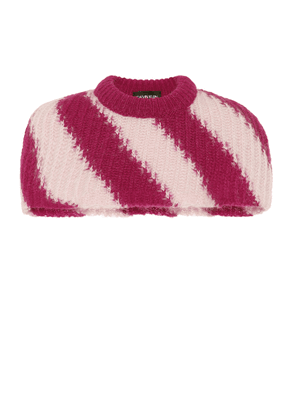 Striped mohair and wool capelet