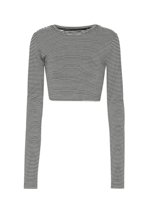 Striped jersey cropped top