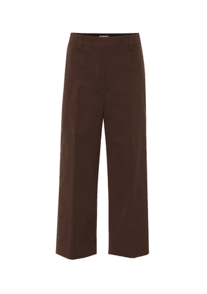 High-rise wide-leg cotton pants