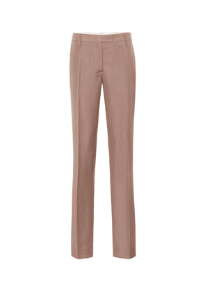 Mid-rise straight mohair-blend pants