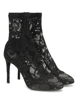 Stretch-lace ankle boots