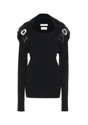Embellished stretch-wool sweater