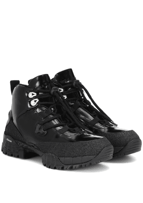 Patent leather hiking boots