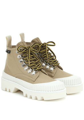 Lug Sole canvas ankle boots