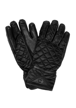 Leather-trimmed quilted ski gloves