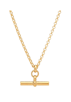 Small T-Bar 23.5kt gold-plated necklace