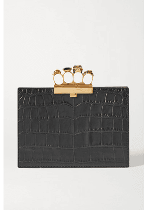 Alexander McQueen - Four Ring Embellished Croc-effect Leather Clutch - Black