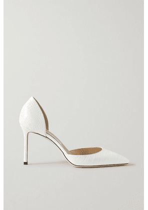 Jimmy Choo - Esther 85 Croc-effect Leather Pumps - White
