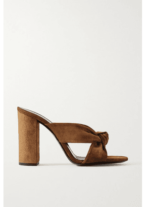 SAINT LAURENT - Bianca Knotted Suede Mules - Brown