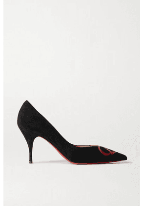 Christian Louboutin - Cl 80 Patent Leather-trimmed Suede Pumps - Black
