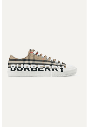 Burberry - Logo-print Checked Cotton-canvas Sneakers - Beige