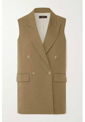 Joseph - Double-breasted Cotton And Linen-blend Vest - Army green