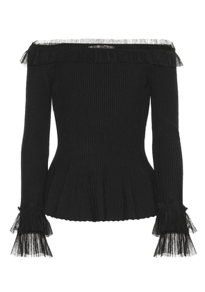 Tulle-trimmed ribbed-knit top
