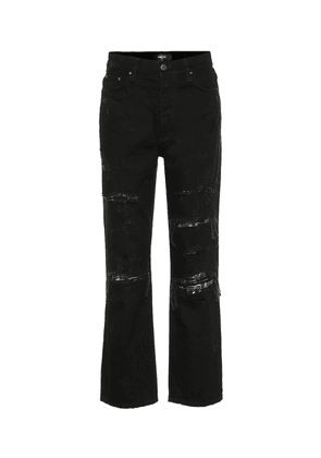 Embellished high-rise straight jeans