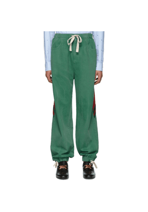 Gucci Green Denim Web Lounge Pants
